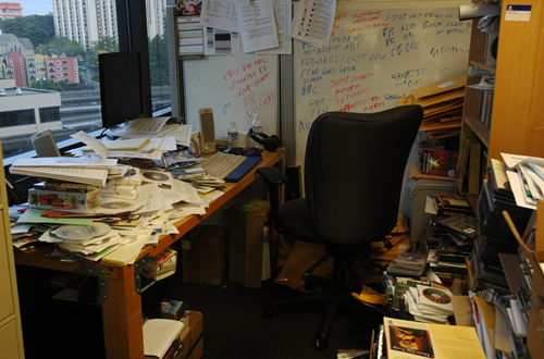 Cluttered desk and office space