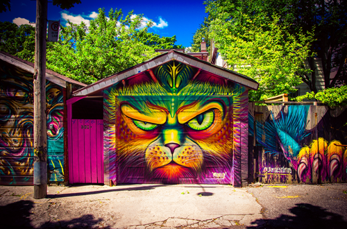 badass grafitti of cat on garage