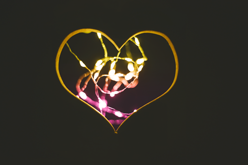 heart with string lights